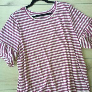 Lane Bryant 22/24 Pink & White Ruffle Sleeve Top
